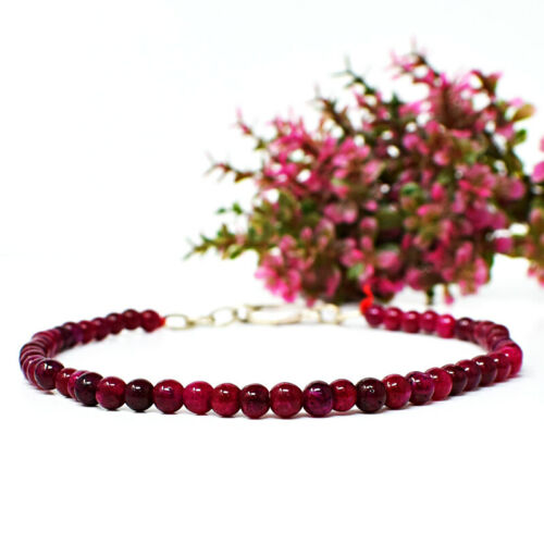 Details about  /35.00 Cts Earth Mined 8 Inches Long Red Ruby Round Beads Bracelet NK-13E208