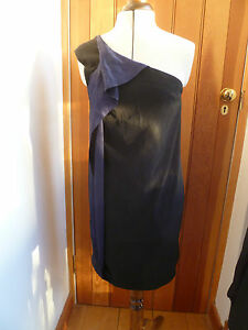 ALL-SAINTS-ELAINA-MINI-COCKTAIL-DRESS-BLACK-NAVY-BLUE-SATIN-DETAIL-UK-8-BNWT