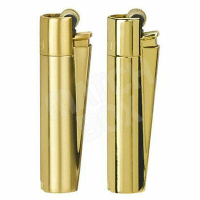 2x Original Metal Clipper Lighter Gold Leaves /& Plain Gold With Tin Case Giftset