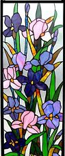 """31.5"""" Flowers in Bloom Iris  Stained Glass Tiffany Style Window Panel"""