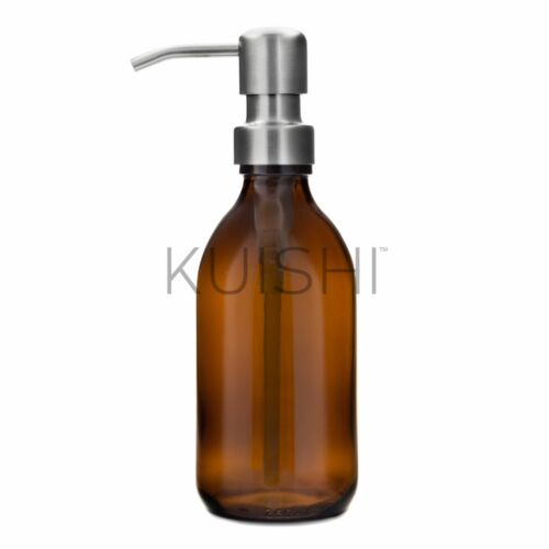 Amber Brown Glass Soap Dispenser With Stainless Steel Pump