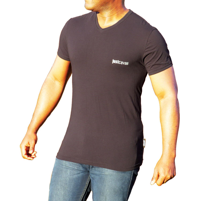 Just CAVALLI UOMO COTONE STRETCH V-Neck T-shirt, Nero Vee T-shirt Sz S, M, L, XL