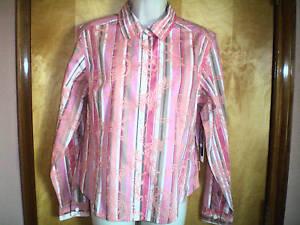NEW-NWT-womens-pink-orange-khaki-OLEG-CASSINI-shirt-size-L-fitted-stretch-l-s