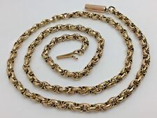 Fine Antique Victorian Fancy Linked 9ct Rose Gold Belcher Chain - Barrel Clasp