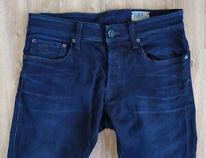 Sale% Herren G-STAR RAW 3301 Super Slim Jeans W31 L32 Dunkelblau Stretch Denim