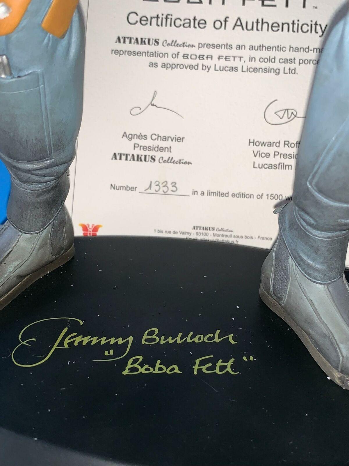 He SIGNED 2000 gree gree gree Attakus BOBA FETT STATUE MIB UNDISPLAYED Jeremy Bulloch 8da736