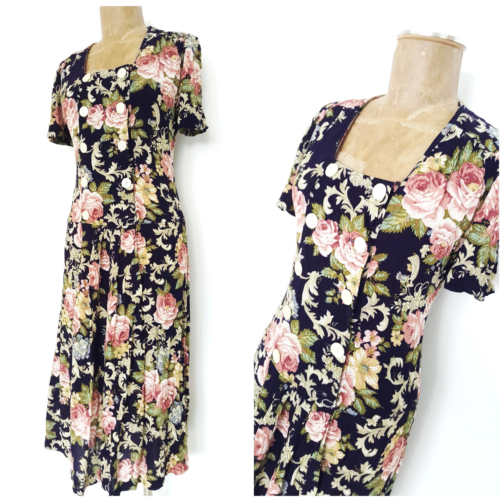 Vintage 80s Leslie Fay Wrap Dress Größe Medium Floral Midi Double Breasted