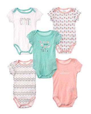 Absorba Infant Girls Pretty Garden 5pc S//S Bodysuits Size 0//3M 3//6M 6//9M $32