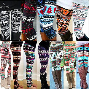 446fe69f0ff6d5 Women's Xmas Winter Knit Snowflake Print Leggings Warm Tight Fleece ...
