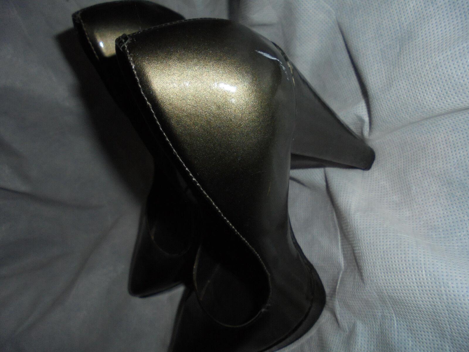 KG WOMEN'S DARK BRONZE LEATHER SLIP SHOES ON HEEL SHOES SLIP SIZE VGC 1fc2c4