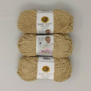 Lion-Brand-Baby-Soft-Boucle-Tan-3-Skeins-100g-120yds