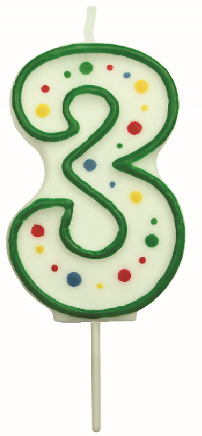 PME Small Numeral Number 3 Birthday Celebration Cake Green Candle