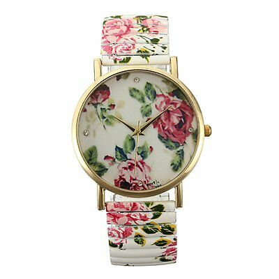 Fashion Painting Floral Flower Bracelet Elastic Alloy Quartz Watch Woman Gift