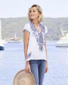 JOHNNY-WAS-Workshop-LILA-JO-DRAPE-TOP-Embroidered-Tunic-Blouse-S-228