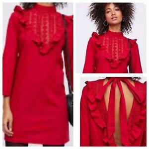NWOT-FREE-PEOPLE-Lorna-100-Cotton-Tie-Back-Ruffle-Crochet-Mini-Dress-Small-Red