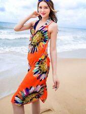 Orange Open Back Swim Wear Suit Bikini Cover Wrap Sarong light weight chiffon