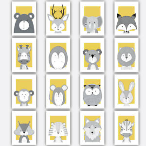 Image Is Loading Art Print Forest Animal Sketch Picture Poster Yellow