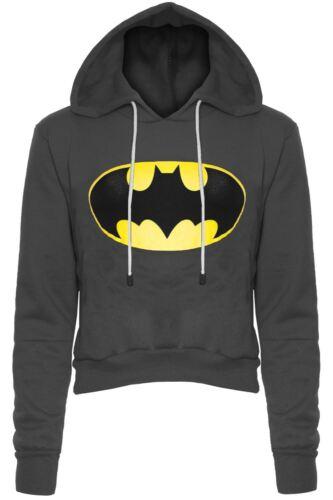 Womens Batman Knitted Pullover Jumper Ladies Long Sleeve Crop Top Fleece Hoodies