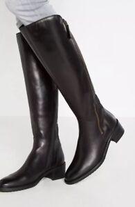 rodilla Clarks E altas Sz Melrose Valana cuero negro de la hasta Ladies botas 5 BAFaRA0K
