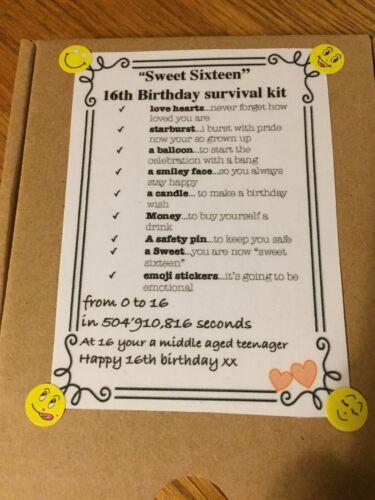 """/""""SWEET SIXTEEN/"""" 16th Fun kit de survie dans une boîte fait main cadeau"""