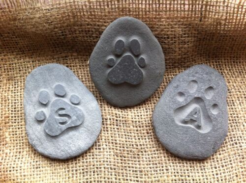 dog unique plaque cat rabbit Hand carved Pet memory pebble garden memorial