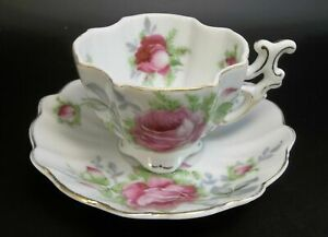 Demitasse-Lefton-China-Hand-Painted-Tea-Cup-Saucer-Porcelain-Japan-Pink-Roses