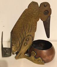 Antique Arts & Crafts Cigar Cutter, Mixed Metal Figural Bird, Ignatius Taschner
