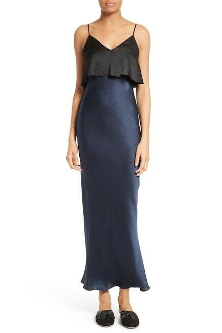 NWT DvF Diane von Furstenberg réteges kék selyem Maxi ruha mérete M vagy L MSRP 428 $