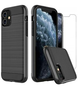 For-Apple-iPhone-11-6-1-034-Case-Carbon-Fibre-Cover-amp-Glass-Screen-Protector