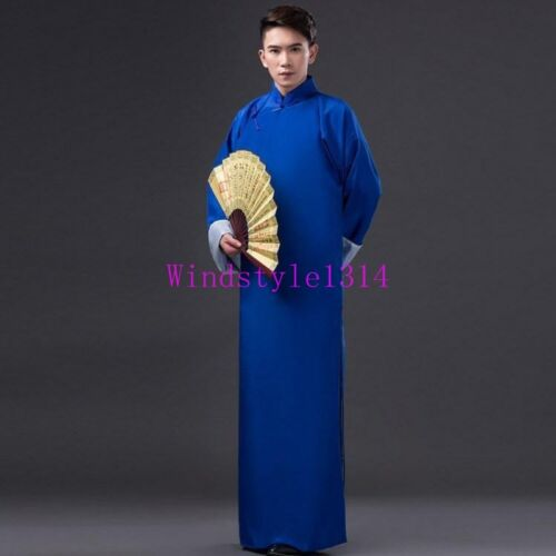 Chinese Style Men Crosstalk Costume Long Gown Robes Jacket Changshan Tunic Stage