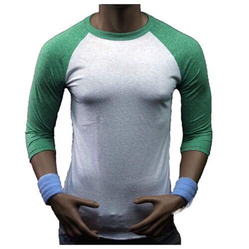 Men 3//4 Sleeve Baseball T-Shirt Tri Blend Casual Slim Fit Crew Neck Hipster Gym