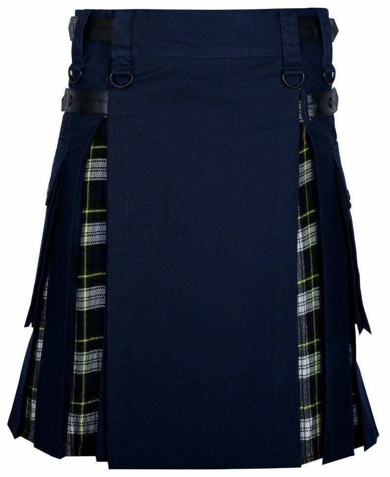 New Scottish Handmade Dress Gordon Utility Kilt Cargo Hybrid Modern Navy Cotton