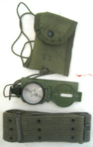 Cammenga Phosphorous Glow in the Dark Compass US Army with Pouch & Belt