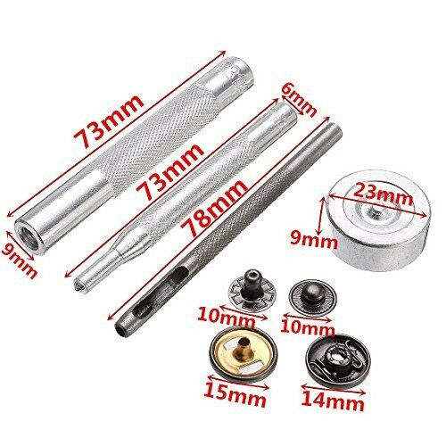 S Spring Snap Fastener Press Stud with Hand Fixing Tool set Leather Jackets Belt