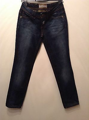 """galliano"" Donna Jeans Denim W 28 L30 Indaco Metallizzata Thread (taglia 10?)-mostra Il Titolo Originale"