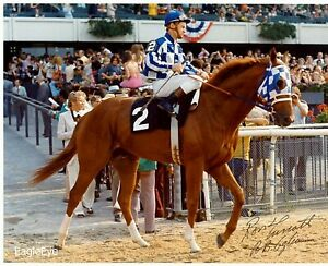 SECRETARIAT-8X10-PHOTO-HORSE-RACING-PICTURE-JOCKEY-RON-TURCOTTE-Autographed