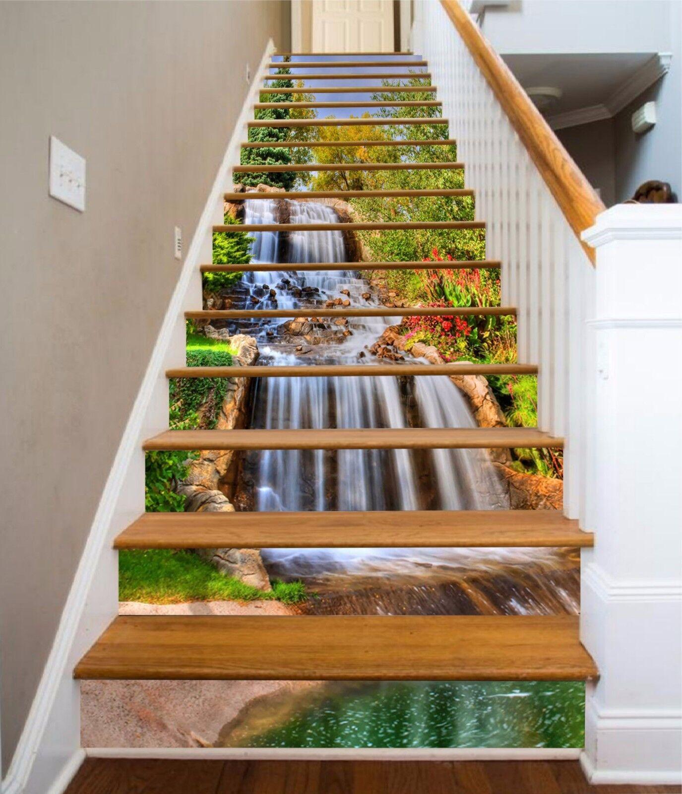 3D Creek Falls 101 Stairs Risers Decoration Photo Mural Vinyl Decal Wallpaper US