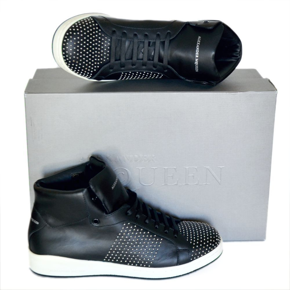 Alexander McQueen New sz 43 US 10 High Top Designer Mens scarpe da ginnastica scarpe nero