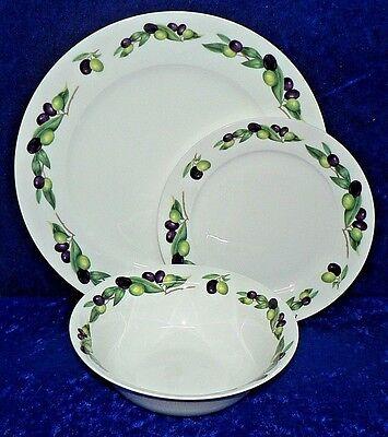 Fine Bone China Dinner Plate Plaque latérale /& Bol, Olives Assiettes Set