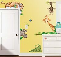 Jungle Animals Wall Decals Tiger Monkey Zebra Giraffe Stickers Kids Decor