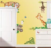 Jungle Animals Wall Decals Tiger Monkey Zebra Giraffe Stickers Kids Decor