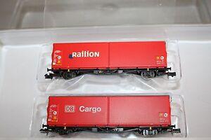 Minitrix-15293-schwenkdachwagen-set-db-cargo-pista-n-OVP