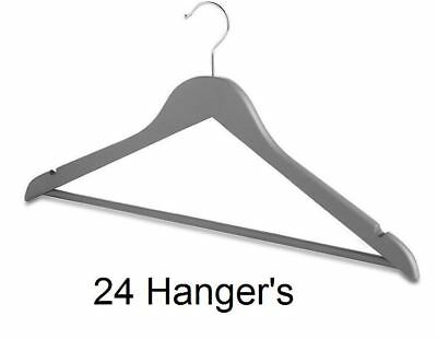 Nuovo 24pcs Grigio In Legno Appendiabiti Vestiti Pantaloni Tuta Cappotto Di Stoccaggio A Casa-mostra Il Titolo Originale