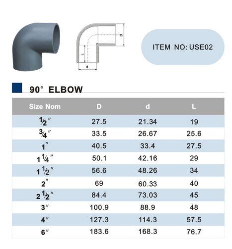 "SCH 40 PVC 6/"" 90 DEGREE ELBOW SOCKET CONNECT SCH 40 PVC NIB NEW LOT OF 2 PCS"