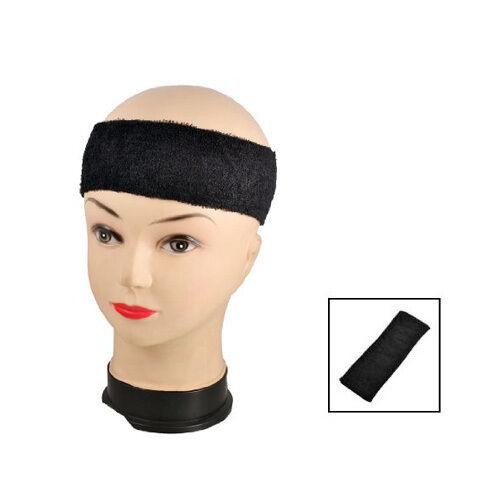 Black Adult Terrycloth Elastic Tennis Runner Head Band Sweatband Headband HY