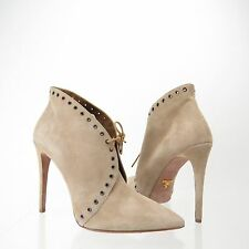 Prada Eyelet Women's Shoes Beige Suede Lace-Up Bootie Size 40 M NEW! RTL $850
