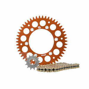 Primary-Drive-Alloy-Kit-amp-Gold-X-Ring-Chain-Orange-Rear-Sprocket