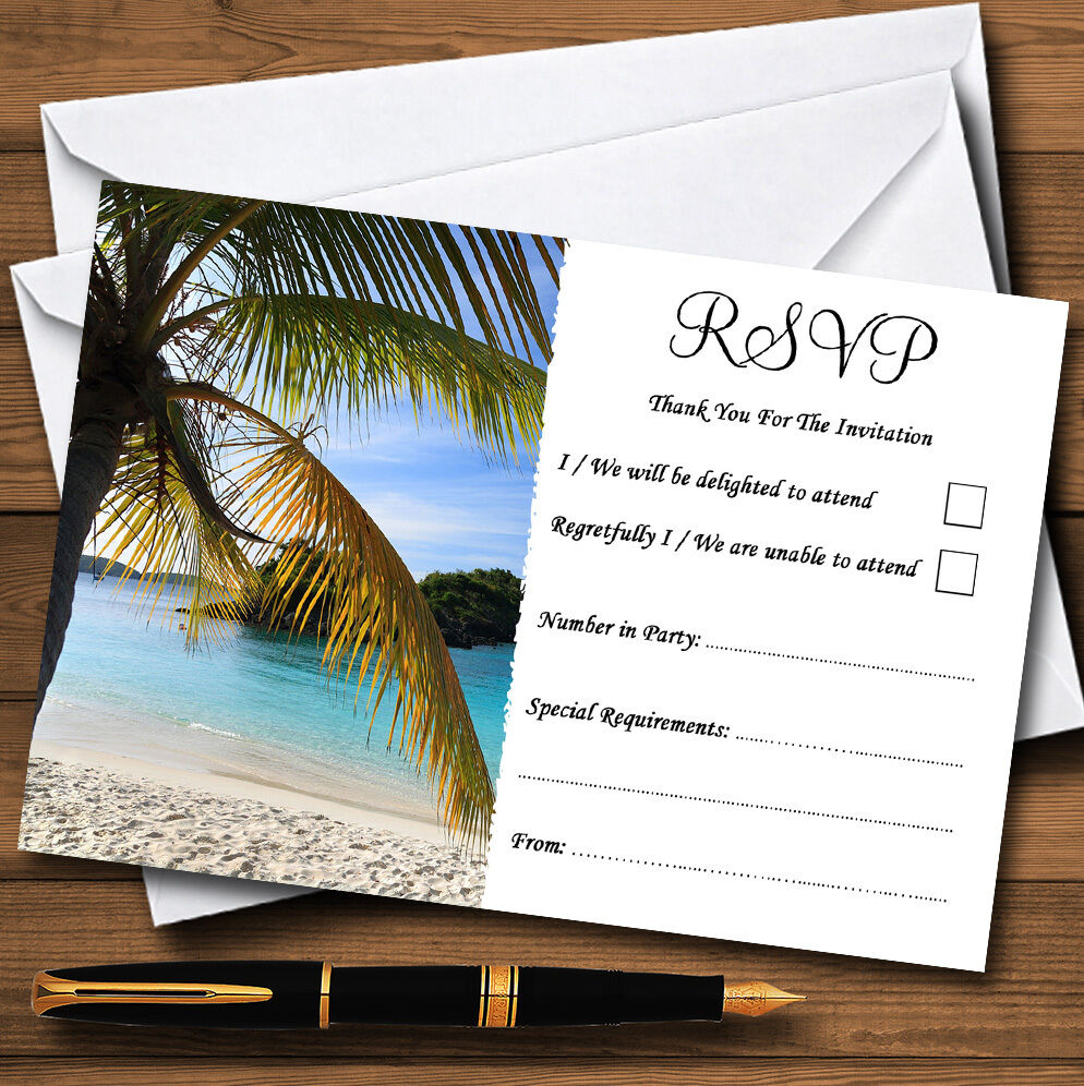 Palm Tree Beach Abroad Personalised Wedding or Party RSVP Cards