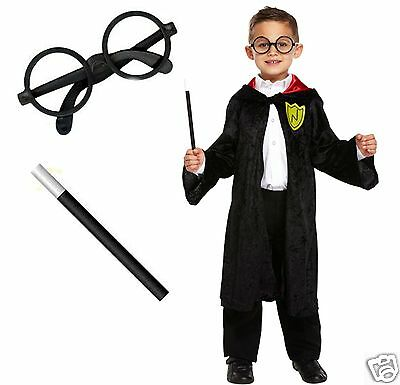 Kids School Boy Girl Wizard Witch Fancy Dress Costume World Book Day Outfit 4-12