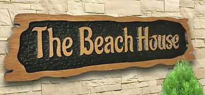 Personalised Carved  House Wooden Oak Sign Address Name Plaque Outdoor